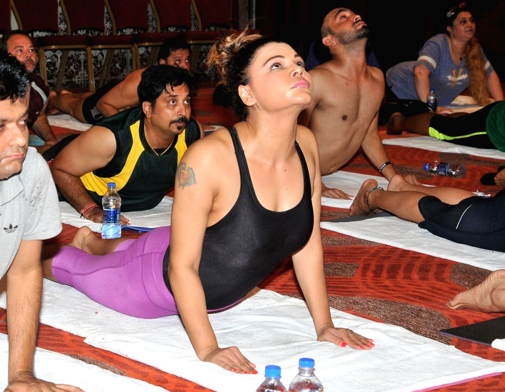 Rakhi Sawant performs Yoga on International Yoga Day in Mumbai on Sunday, June 21st, 2015.