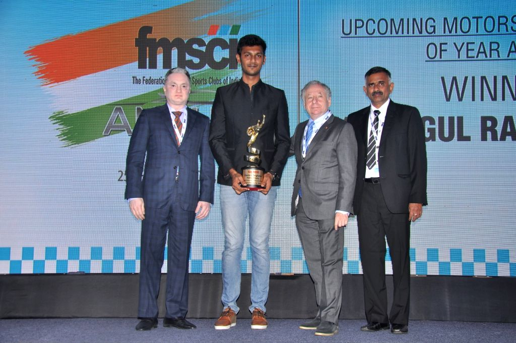 "Mumbai: Raymond Group CMD Gautam Singhania, Chennais Raghul Rangasamy winner of the FMSCI ""Upcoming Motorsports Person of the Year Award"", FIA President Jean Todt and FMSCI President J. Prithiviraj during the 2018 FMSCI Annual Awards function in Mumb"