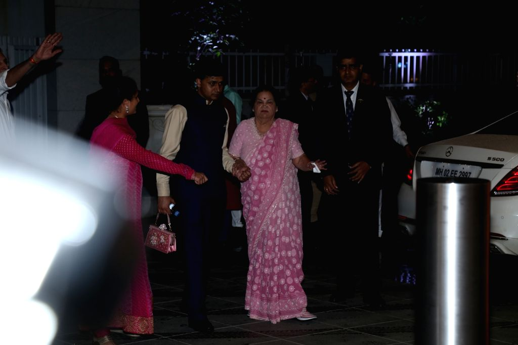 Mumbai: Reliance Industries Chairman Mukesh Ambani's mother Kokilaben Ambani at a Diwali party hosted by her son in Mumbai on Oct 24, 2019. (Photo: IANS) - Mukesh Ambani and Kokilaben Ambani