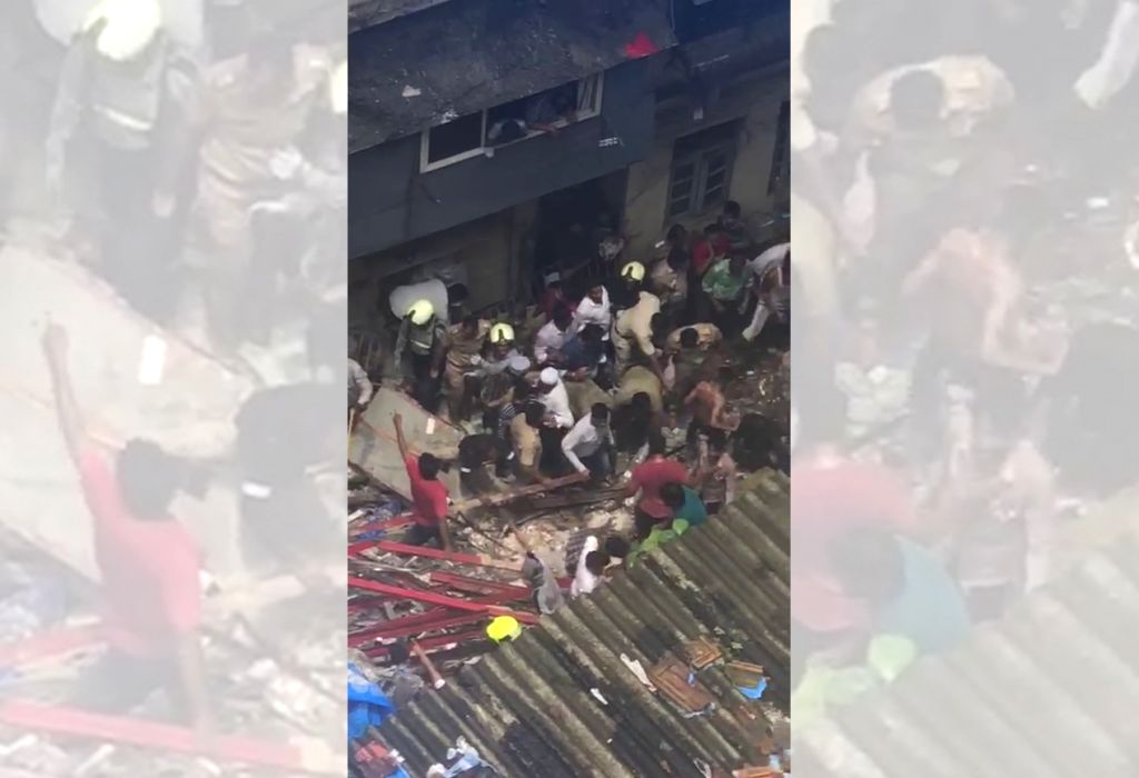 Mumbai: Rescue operations underway at Kesarbai building - a four-storey building that collapsed in south Mumbai's Dongri area with at least 50 people feared trapped in the debris on July 16, 2019. (Photo: IANS)