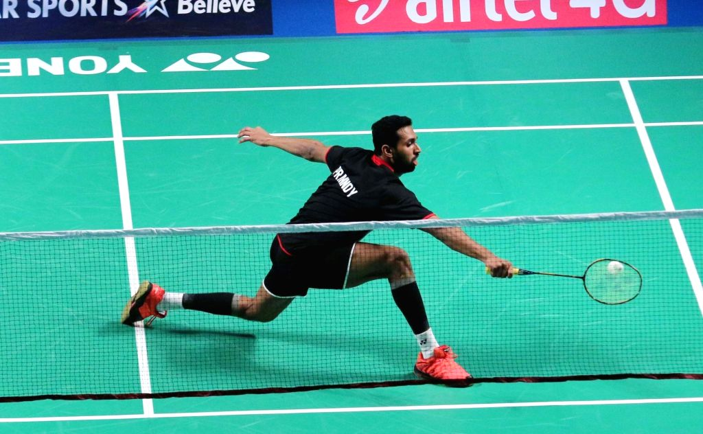 Mumbai Rockets' H S Prannoy in action against Tommy Sugiarto of Delhi Acers during a Premier Badminton League match in New Delhi, on Jan 17, 2016. ​​Tommy Sugiarto won.