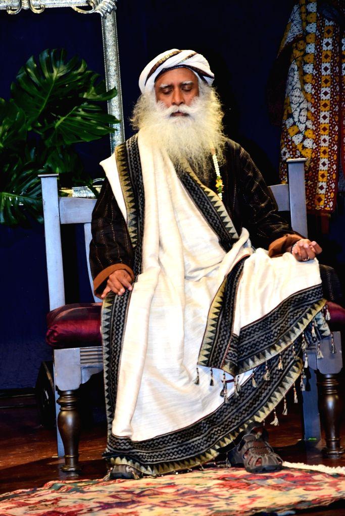 "Mumbai: Sadhguru Jaggi Vasudev during ""In Conversation with the Mystic"" in Mumbai on Aug 8, 2018.(Photo: IANS)"