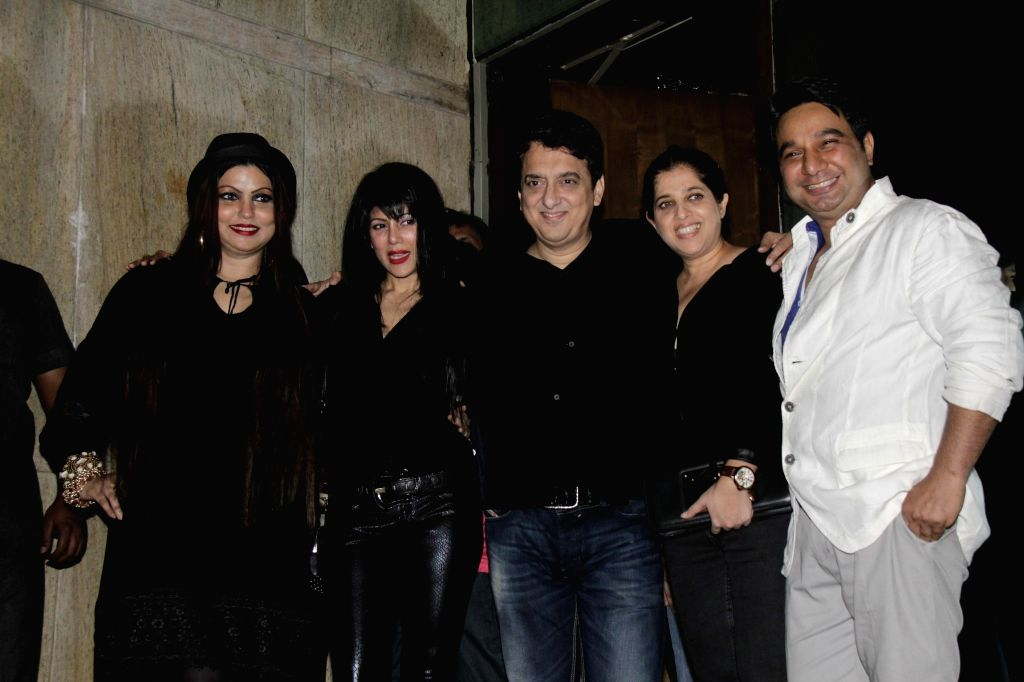 Sajid Nadiadwala and his wife Wardha Khan, Ahmed Khan and his wife Shahira Khan during Ahmed Khan and Shahira Khan's wedding anniversary party in Mumbai on 7th, Feb. 2015. - Wardha Khan