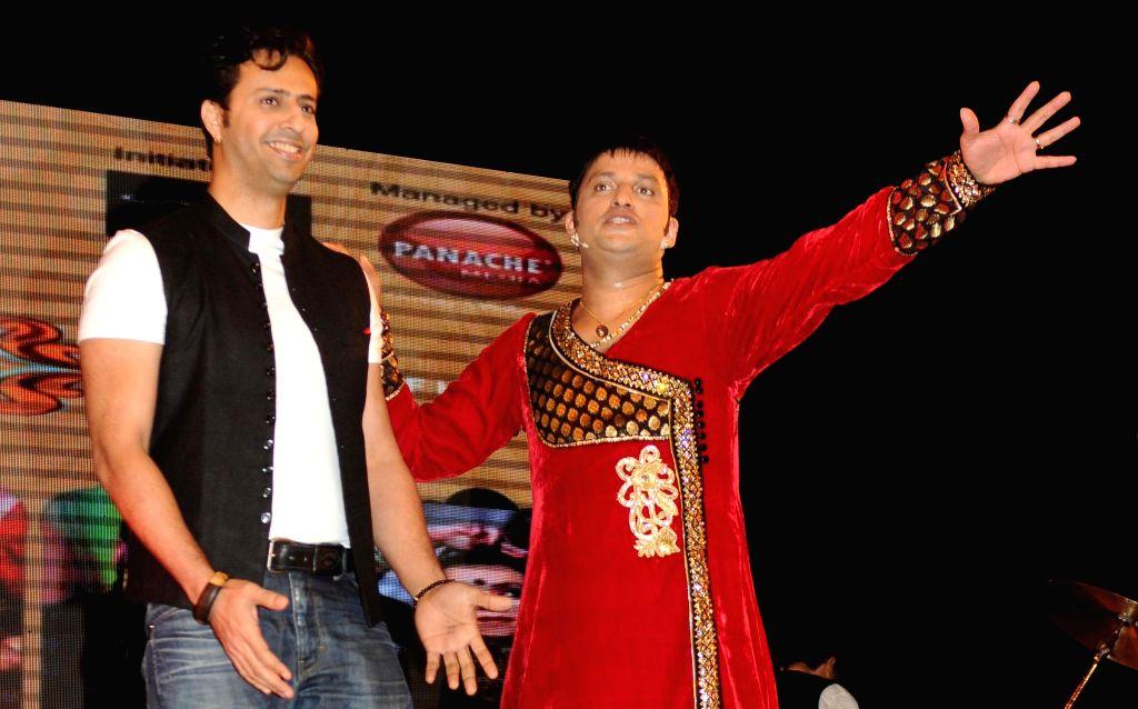 Salim Merchant with Sandeep Mahavir during a music concert `Ru-Ba-Ru -The Soul of Fusion` spearheaded by Sandeep Mahavir in Mumbai, on Feb 11, 2015.