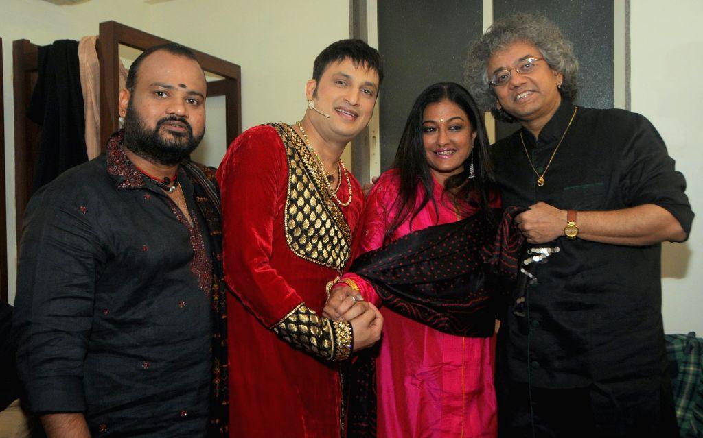 Selva Ganesh, Sonali Rathod & Taufiq Qureshi during a music concert `Ru-Ba-Ru -The Soul of Fusion` spearheaded by Sandeep Mahavir in Mumbai, on Feb 11, 2015.