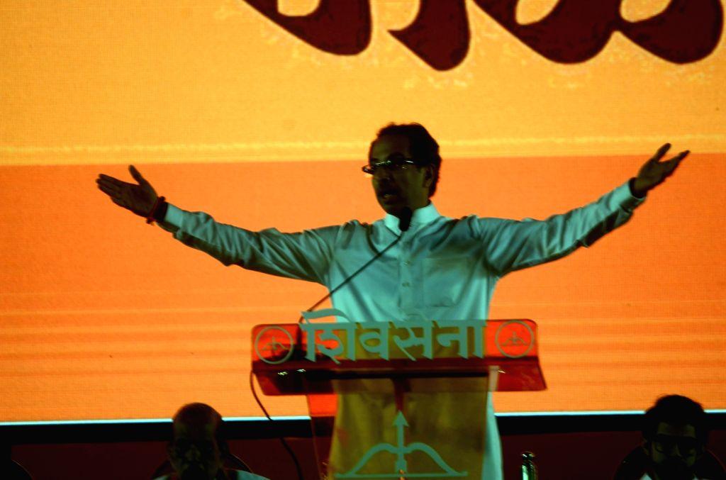 :Mumbai: Shiv Sena chief Uddhav Thackeray addresses a party rally on Dussehra in Mumbai on Oct 18, 2018. (Photo: IANS).