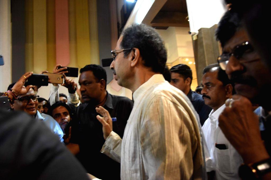 Mumbai: Shiv Sena chief Uddhav Thackeray leaves after attending a Sena-NCP meeting in Mumbai on Nov 22, 2019. (Photo: IANS)