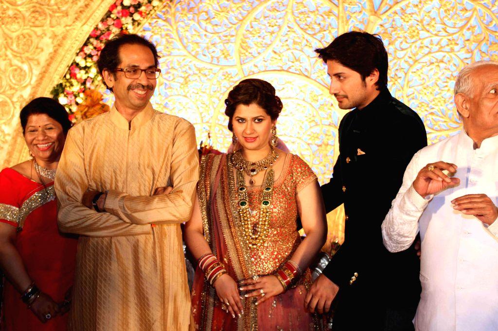 Shiv Sena Leader Uddhav Thackeray during the wedding reception of Congress leader Bhai Jagtap`s daughter, designer Manali Jagtap Shoor and Vicky Shoor in Mumbai, on Feb 11, 2015.
