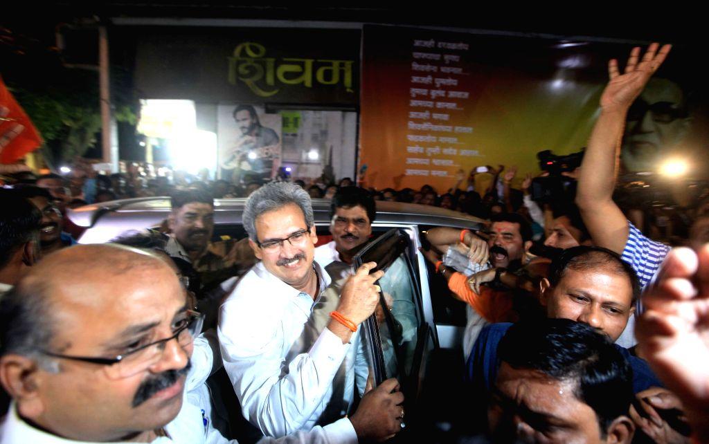 Shiv Sena MP Anil Desai arrives at Shiv Sena Bhavan in Mumbai, on Nov 9, 2014.