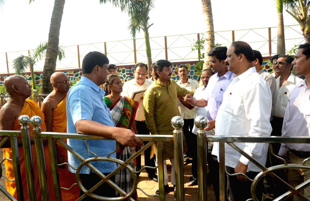 Shiv Sena MP Rahul Shewale, Mumbai mayor Snehal Ambekar and others inspect preparations for programmes scheduled to be organised on Dr. B. R. Ambedkar's death anniversary at Chaitya Bhoomi in