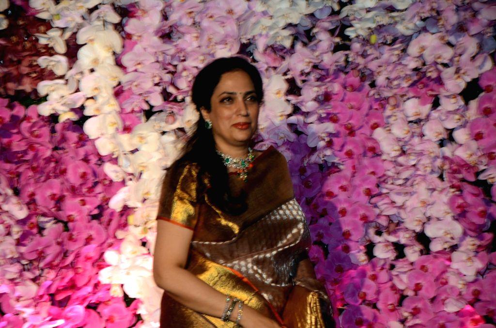 Mumbai: Shiv Sena supremo Uddhav Thackeray's wife Rashmi Thackeray at the wedding reception of Akash Ambani and Shloka Mehta in Mumbai on March 10, 2019. - Akash Ambani and Shloka Mehta