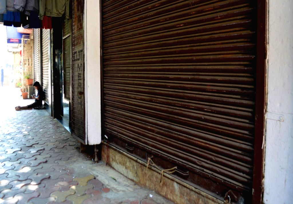 Mumbai: Shops remain closed in Mumbai's Bhendi Bazar to protest against suicide attack on a CRPF bus in Jammu and Kashmir's Pulwama district in which atleast 45 soldiers lost their lives; on Feb 15, 2019. (Photo: IANS)