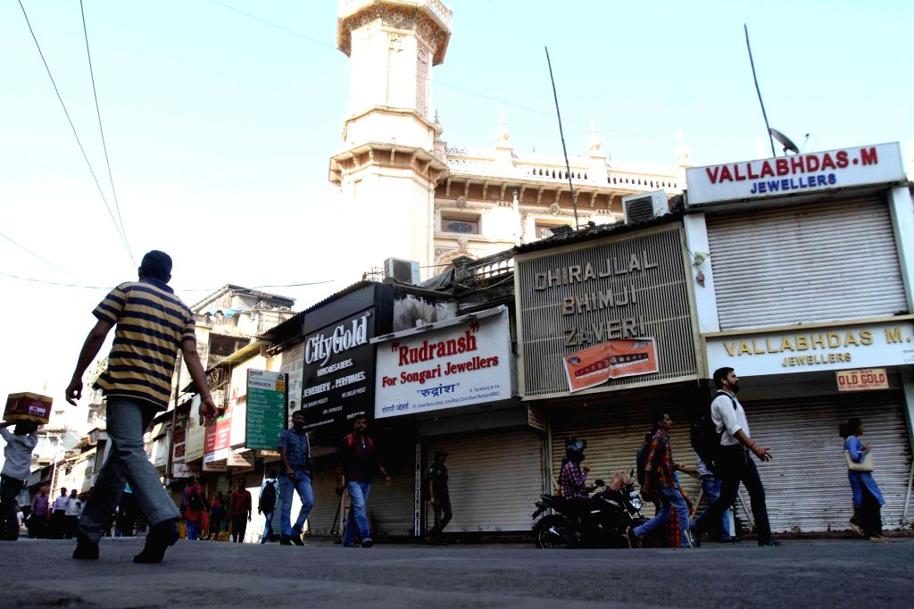Mumbai: Shops remain closed in Mumbai to protest against suicide attack on a CRPF bus in Jammu and Kashmir's Pulwama district in which atleast 49 soldiers lost their lives; on Feb 16, 2019. (Photo: IANS)