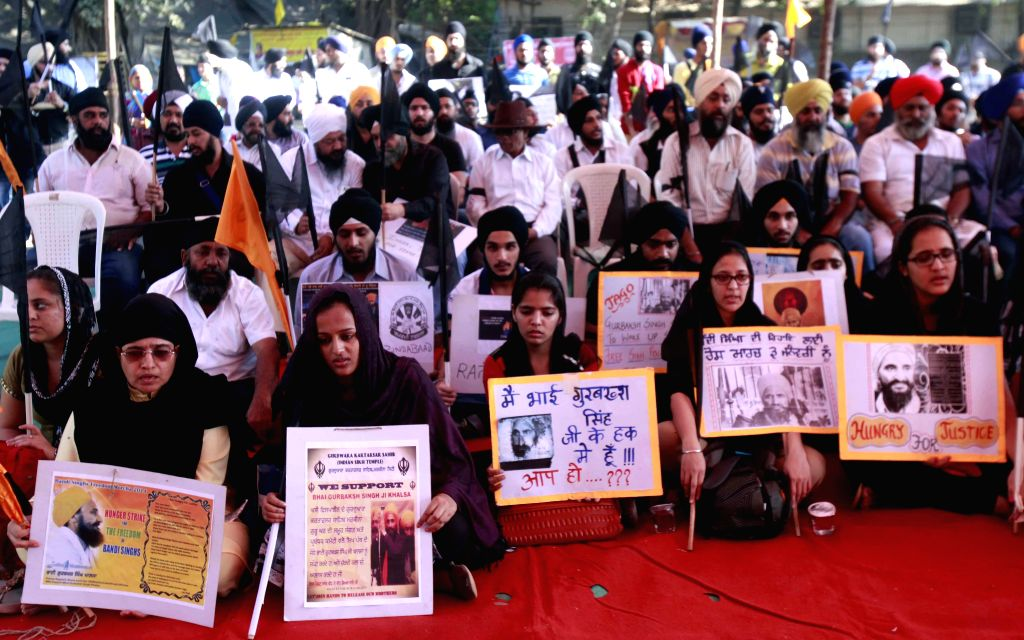 Sikhs stage a demonstration to press for the release of Sikh prisoners who are lodged in different jails even after completion of their terms at Azad Maidan in Mumbai, on Jan 7, 2015.