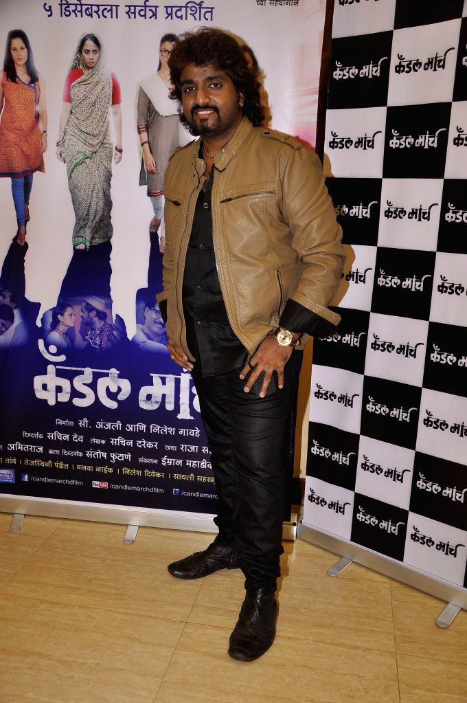 Singer Adarsh Shinde during the music launch of upcoming Marathi film Candle March in Mumbai, on Nov 17, 2014.
