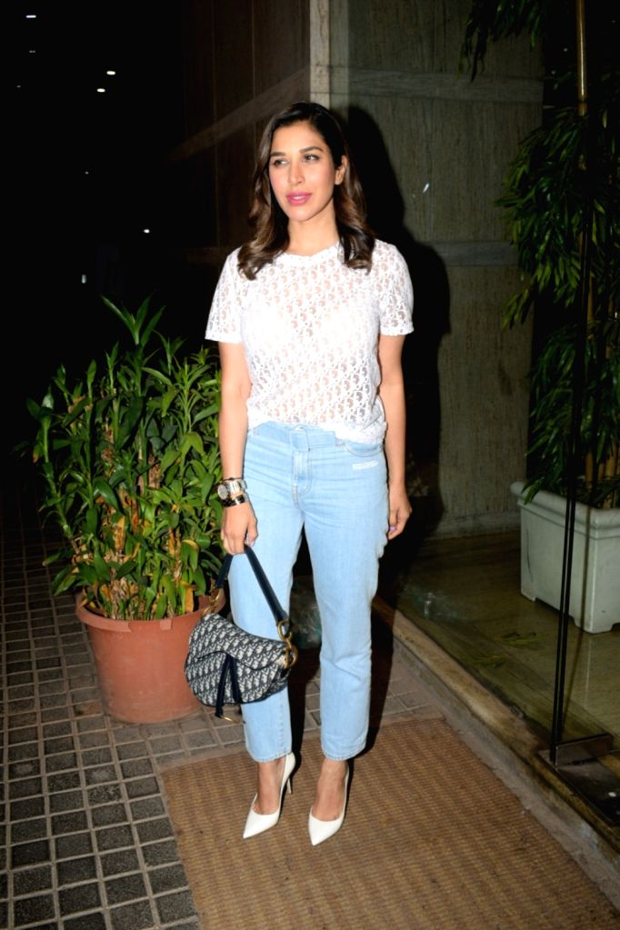 "Mumbai: Singer Sophie Choudry at the screening of upcoming film ""India's Most Wanted"" in Mumbai, on May 20, 2019."