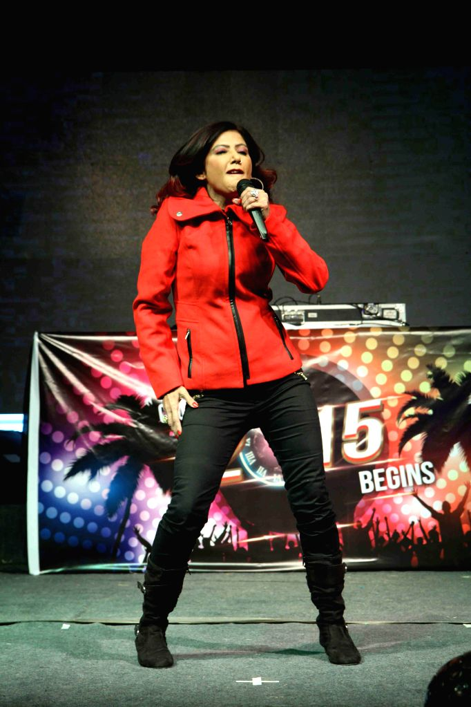 Singer Tinaa Ghaai performs during the new year celebrations in Mumbai, on Dec. 31, 2014.