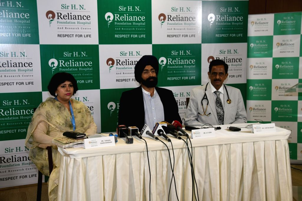 Mumbai: Sir HN Reliance Foundation Hospital CEO Dr Tarang Gianchandani with Directors Dr A.S. Soin and Dr Chetan Bhatt at a press conference in Mumbai. (Photo: IANS)