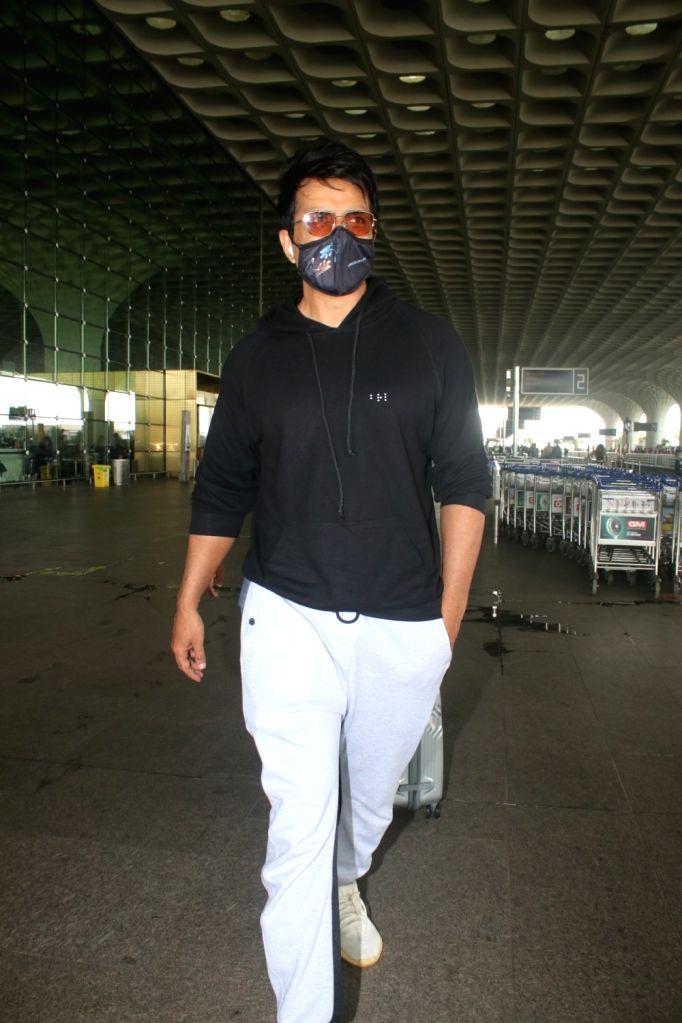 Mumbai : Sonu Sood spotted at Airport Departure in Mumbai on Monday, October 02, 2021.