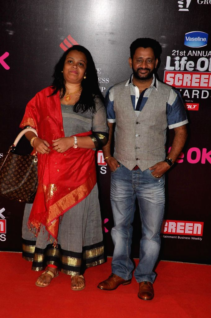 Sound designer, sound editor and mixer Resul Pookutty along with his wife Shadia during the 21st Annual Life OK Screen Awards in Mumbai on Jan. 14, 2015.