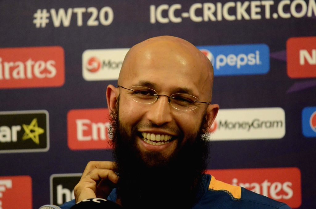 Mumbai: South Africa cricketer Hashim Amla during a press conference in Mumbai on March 19, 2016. (Photo: IANS)