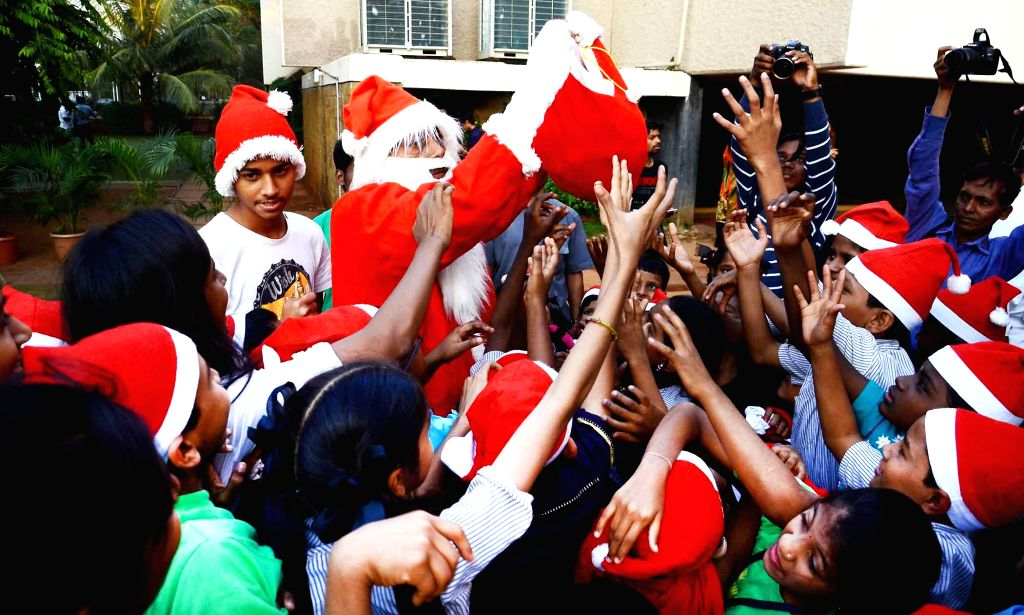 Special children during Christmas celebrations in Mumbai, on Dec 18, 2014.