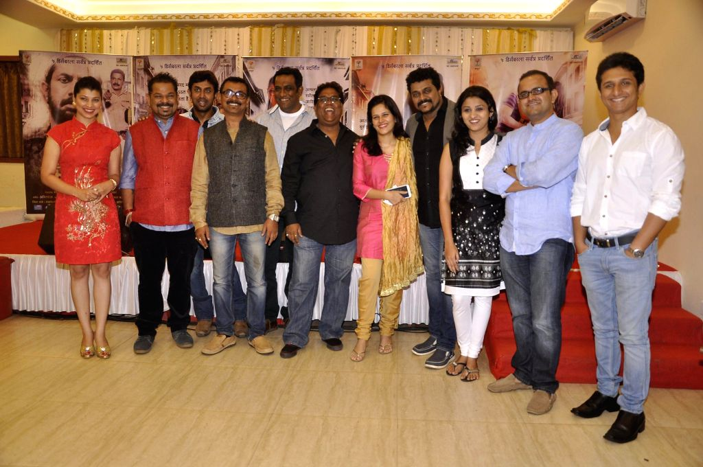Star cast of Marathi filmduring the music launch of upcoming Marathi film Candle March in Mumbai, on Nov 17, 2014.
