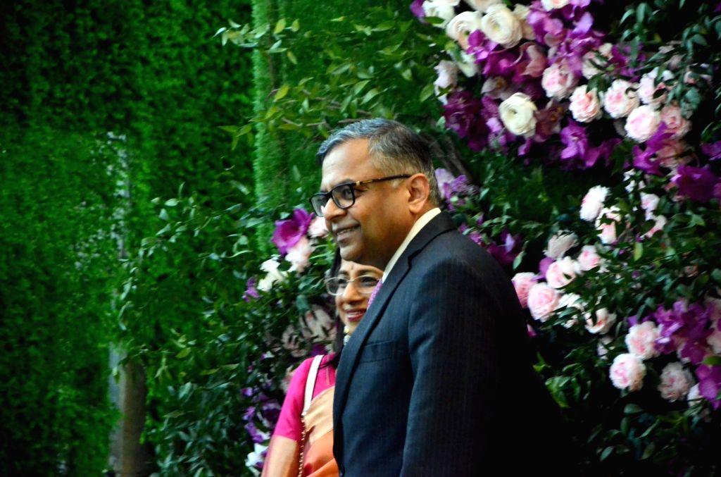 Mumbai: Tata Group Chairman Natarajan Chandrasekaran at the wedding festivities of Akash Ambani and Shloka Mehta in Mumbai on March 9, 2019. (Photo: IANS) - Akash Ambani and Shloka Mehta