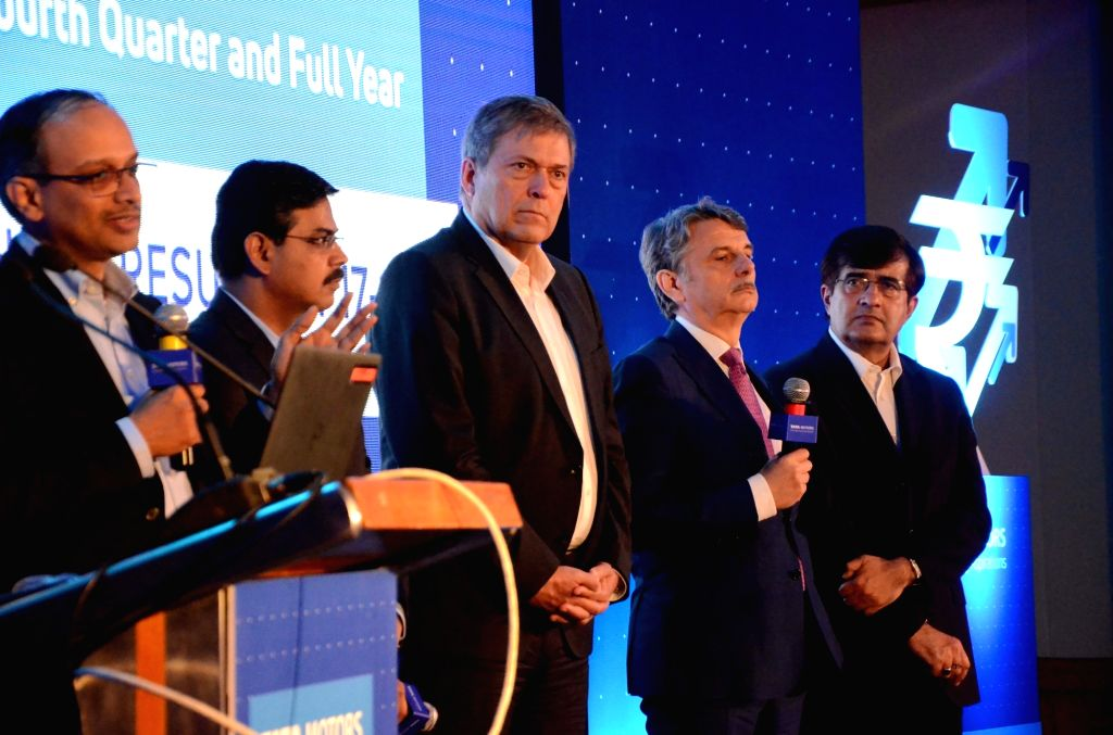 Mumbai: Tata Motors Chief Financial Officer P B Balaji, Commercial Vehicles Business Unit, Tata Motors President Girish Wagh, Tata Motors CEO and MD Guenter Butschek,  Jaguar Land Rover CEO ...
