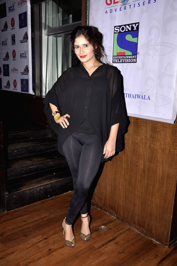 Television actor Aarti Singh during the promo and jersey launch of Box Cricket League`s (BCL) Ahmedabad Express team in Mumbai, on November 16, 2014. - Aarti Singh