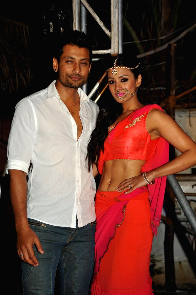 Television actor Barkha Bisht with husband during the launch of Telly Calender 2015 in Mumbai, on Dec 23, 2014. - Barkha Bisht