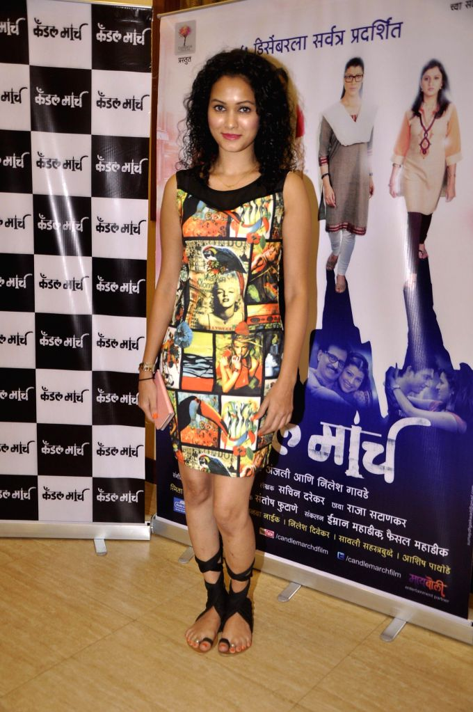 Television actor Neetha Shetty during the music launch of upcoming Marathi film Candle March in Mumbai, on Nov 17, 2014. - Neetha Shetty