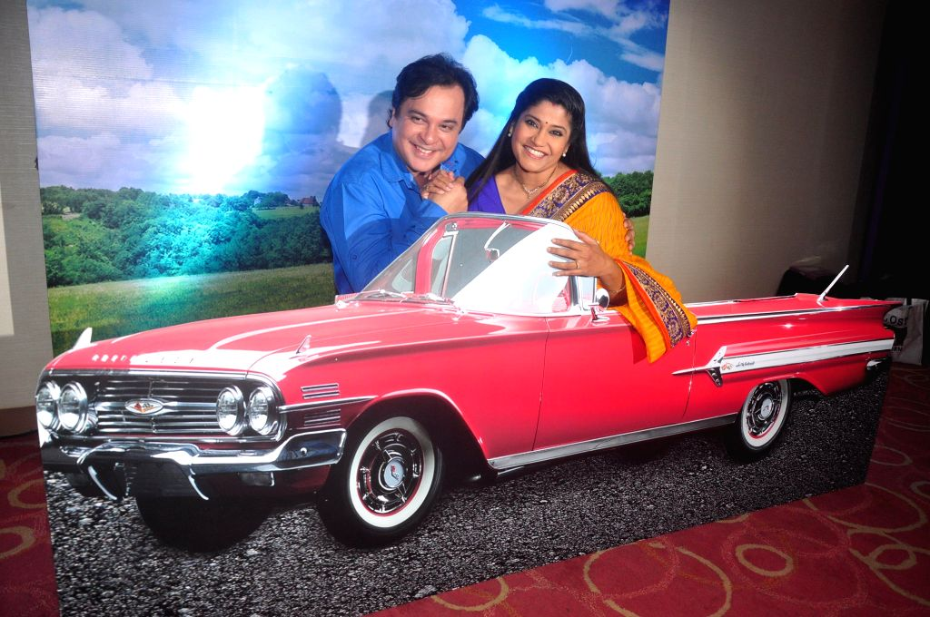 Television actor Renuka Shahane and Mahesh Thakur during the launch of Disney Channel's new shows, in Mumbai, on Jan. 22, 2015. - Renuka Shahane