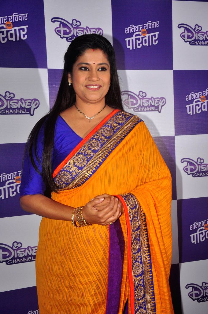 Television actor Renuka Shahane, during the launch of Disney Channel's new shows, in Mumbai, on Jan. 22, 2015. - Renuka Shahane
