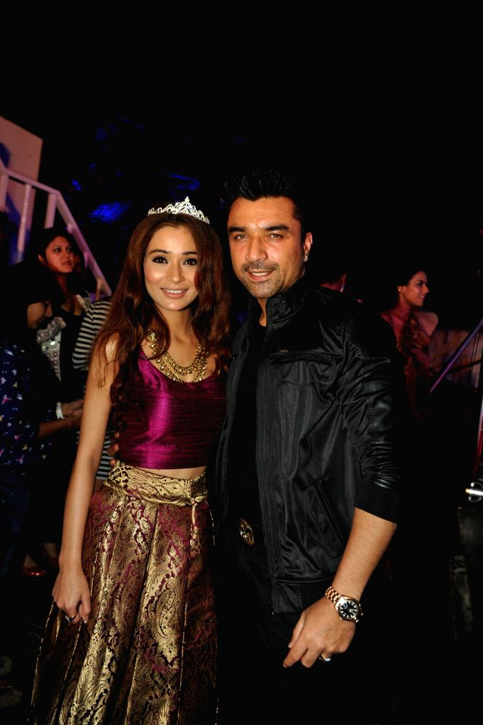 Television actor Sara Khan and Ajaz Khan during the launch of Telly Calender 2015 in Mumbai, on Dec 23, 2014. - Sara Khan and Ajaz Khan