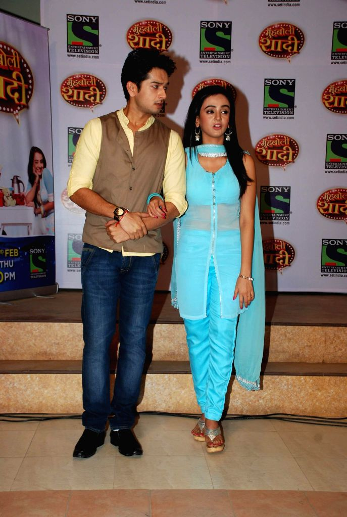 Television actors Fahad Ali and Zalak Desai during the launch of Sony TV upcoming show `Muh Boli Shaadi` in Mumbai on Feb 19, 2015. - Fahad Ali and Zalak Desai