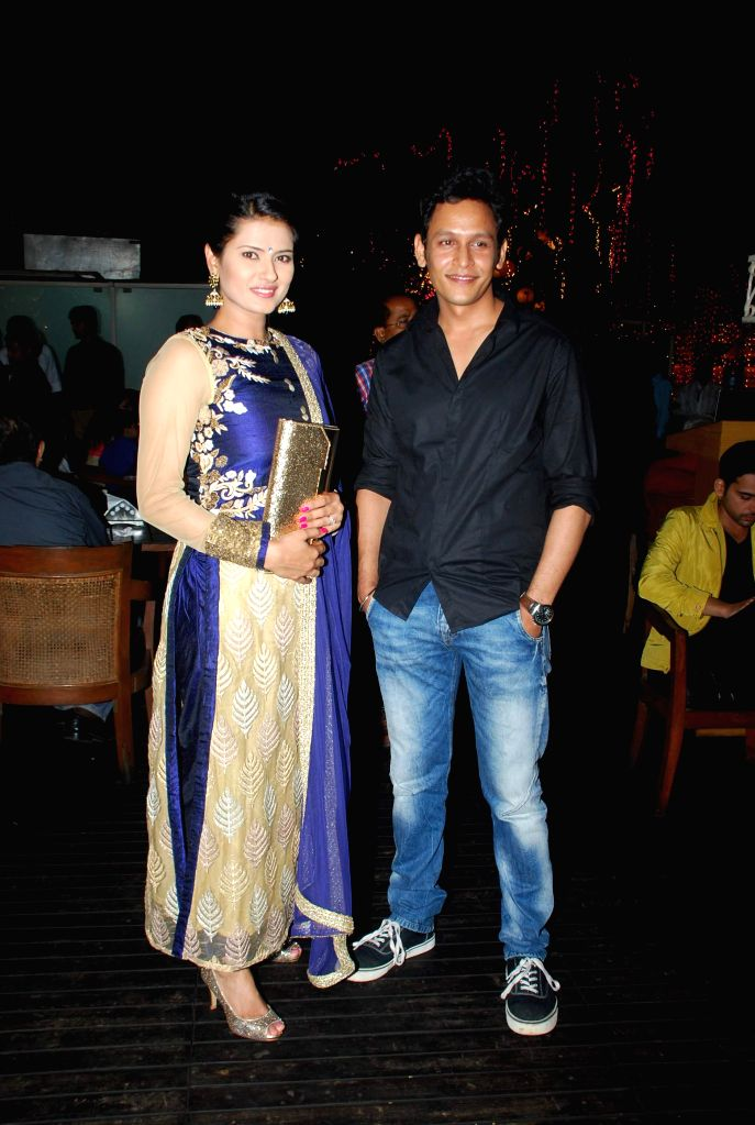 Television actors Kratika Sengar and Abhishek Rawat during the launch party of Zee TV new show Service Wali Bahu in Mumbai on Feb 23, 2015. - Kratika Sengar and Abhishek Rawat
