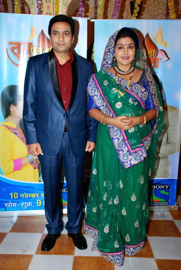 Television actors Pyumori Mehta and Ankur Ghai during the launch of Sony TV new show Tum Aise Hi Rehna, in Mumbai, on Nov. 4, 2014. - Pyumori Mehta and Ankur Ghai