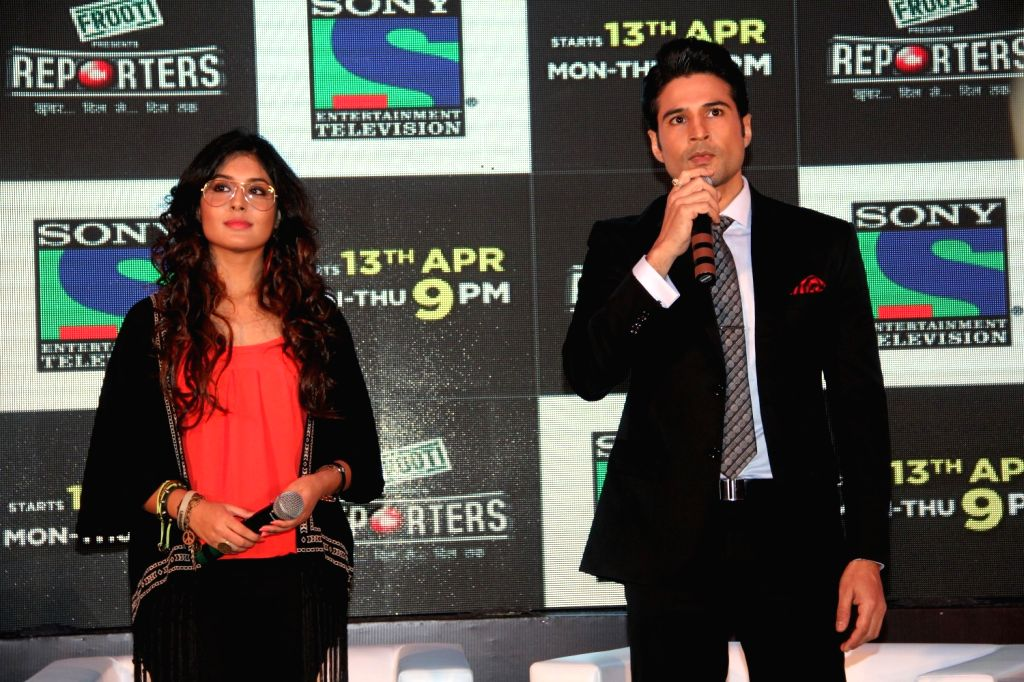 Television actors Rajiv Khandelwal and Kirtika Kamra during the launch of Sony TV`s new serial Reporters in Mumbai on April 9, 2015. - Rajiv Khandelwal and Kirtika Kamra