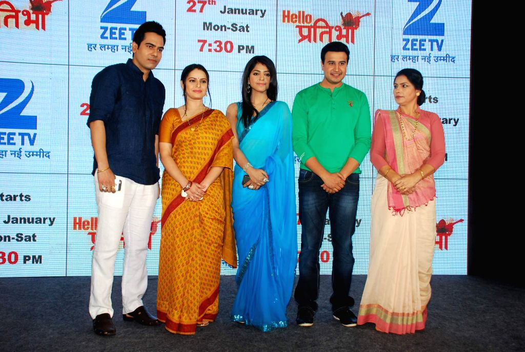 Television actors Sachal Tyagi, Binny Sharma, Snigdha Pandey, Tarul Swami and Sangeeta Panwar during the launch of television serial Hello Pratibha in Mumbai, on Jan. 19, 2015. - Sachal Tyagi, Binny Sharma, Snigdha Pandey, Tarul Swami and Sangeeta Panwar