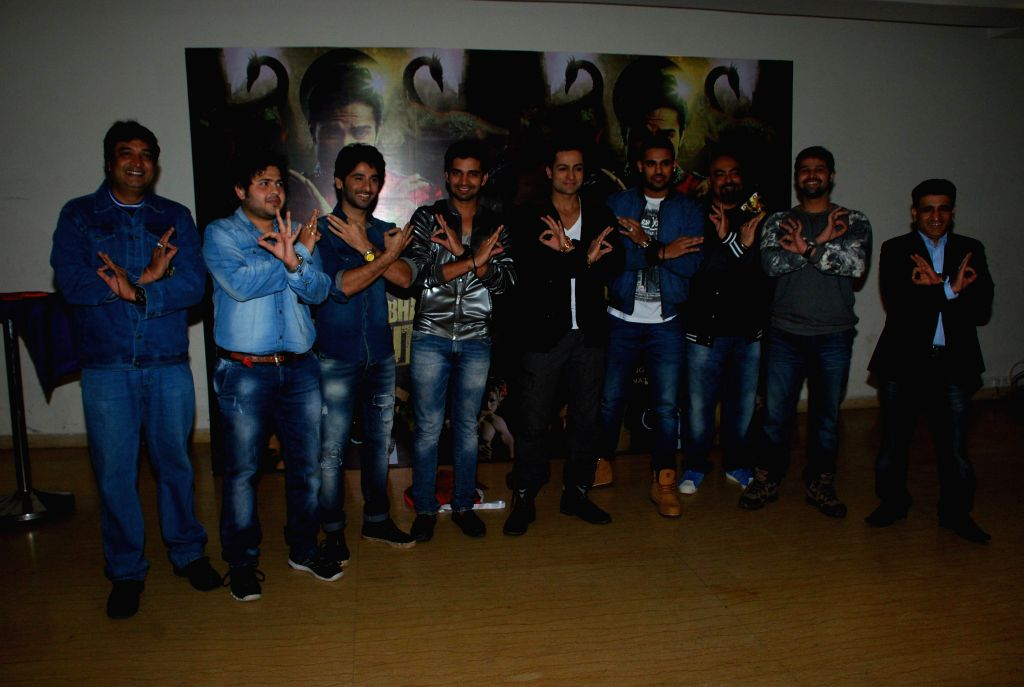 Television actors Sachin Chhabra, Vishal Singh, singers Shaleen Bhanot and Jaz Dhami during the launch of music album Kamasutra in Mumbai, in Mumbai on Jan. 15, 2015. - Sachin Chhabra and Vishal Singh