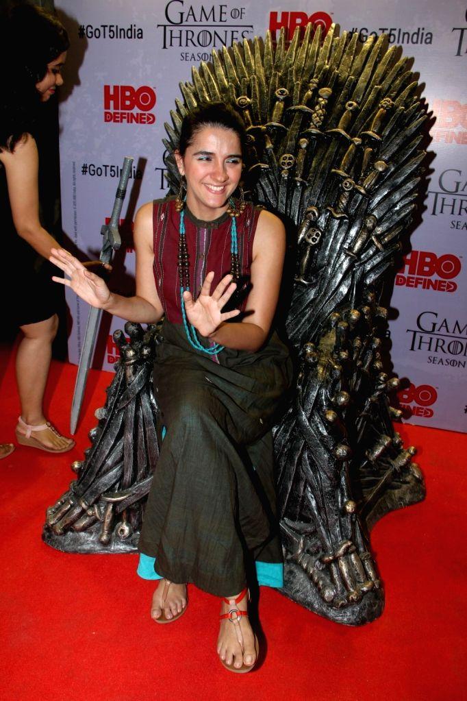 Television actress Shruti Seth at the premiere of film `Game of Thrones` Season 5 in Mumbai on April 9, 2015. - Shruti Seth