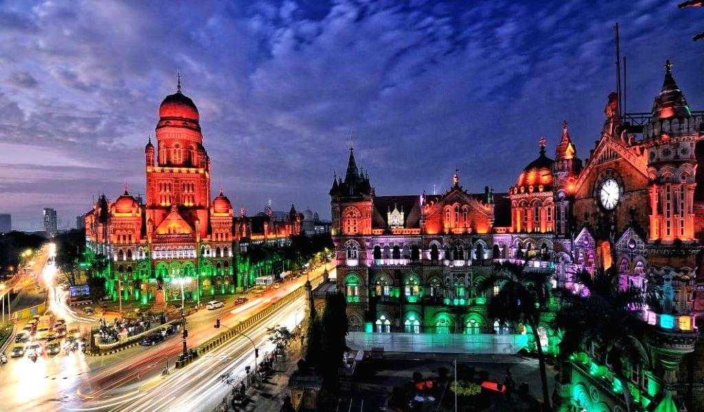 Mumbai: The Chhatrapati Shivaji Terminus (CSTM) illuminated in tricolor on the 71st Republic Day, in Mumbai on Jan 26, 2020. (Photo: IANS)