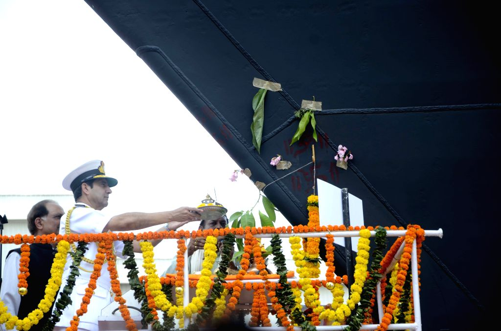 The Chief of Naval Staff, Admiral R K Dhowan at the launching ceremony of the 15B, Guided Missile Destroyer, christened `Visakhapatnam`, at Mazagaon Dock Limited (MDL), in Mumbai on April 20, ...