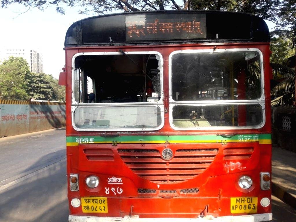 Mumbai: The damaged BEST bus after it was stoned injuring its driver, as the Vanchit Bahujan Aghadi (VBA)-sponsored Maharashtra shutdown started, eliciting mixed response, in Mumbai on Jan 24, 2020. (Photo: IANS)