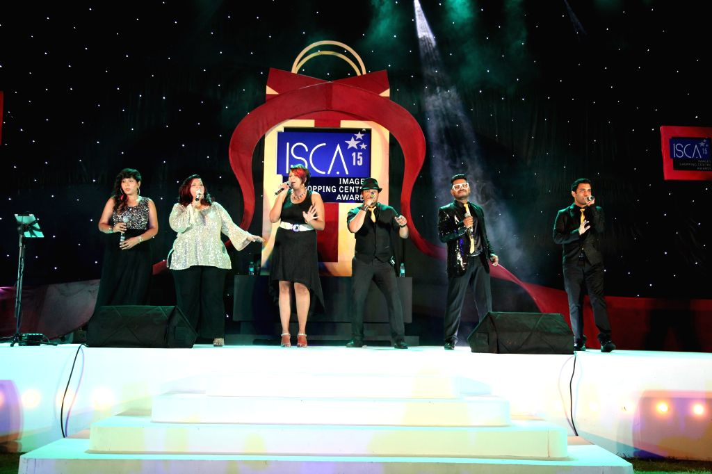 The members of Raaga Trippin perform at the The India Shopping Centre Forum, 2015 in Mumbai on May 6, 2015.