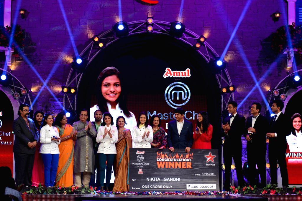 The three finalists - Neha Shah, Bhakti Arora and Nikita Gandhi at the grand finale of ``MasterChef India 4`` in Mumbai on April 12, 2015. - Neha Shah, Arora and Nikita Gandhi