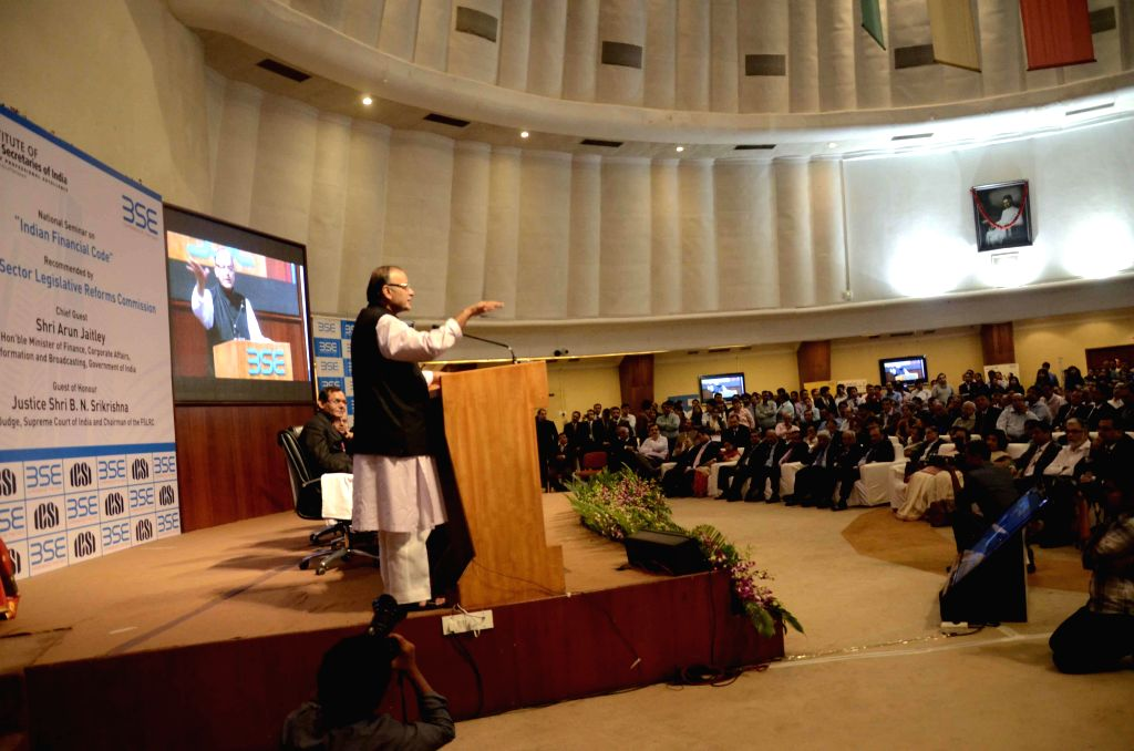The Union Minister for Finance, Corporate Affairs and Information and Broadcasting Arun Jaitley addresses at the National seminar on the `Indian Financial Code` recommended by the Sector ...