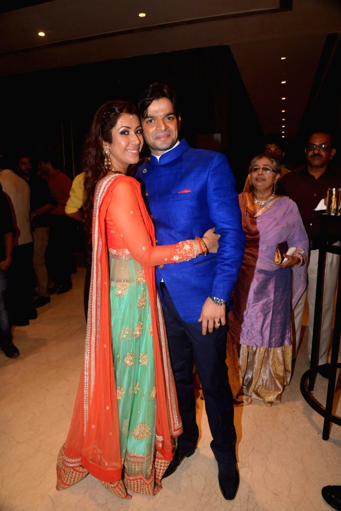 TV actors Ankita and Karan Patel celebrate their engagement and sangeet ceremony at the Novotel Hotel in Juhu, Mumbai on 1st May, 2015.