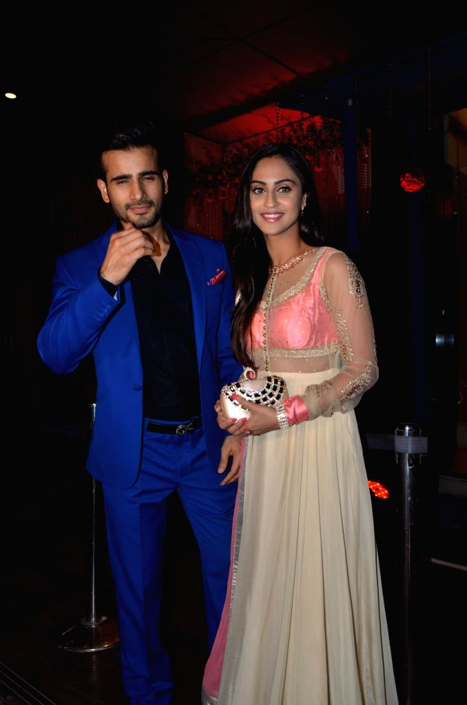 TV actors Karan Tacker and Krystle D`souza during Karan Patel and Ankita Bhargava`s engagement and sangeet ceremony at the Novotel Hotel in Juhu, Mumbai on 1st May, 2015. - Karan Tacker and Krystle